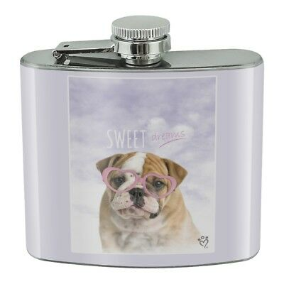 British Bulldog Puppy Dog Sweet Dreams Stainless Steel 5oz Hip Drink Flask