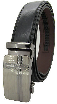 Men Genuine Leather Automatic Ratchet Click Lock Buckle Belt Designer StyleCA102