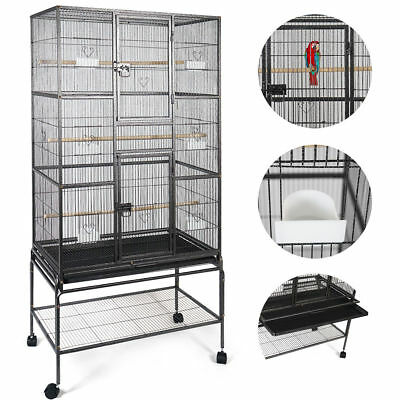 New Bird Parrot Cage Chinchilla Cockatiel Conure Large W/Stand & Two Doors b