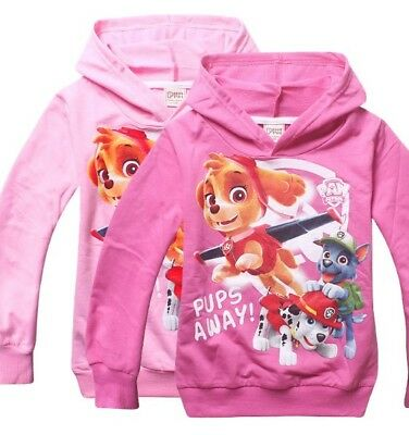 Girls Paw Patrol Jumper Hooded Hoodie Jumper Jacket Size 2-8 years Fleece Lining