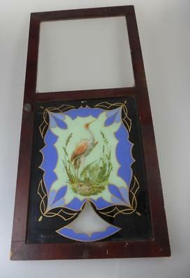 Old Stork Stained Glass Panel Victorian Wall Clock Door
