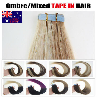 "16~22"" Ombre Tape in Hair Extensions 20pcs Mixed Color 100% Remy Human Hair AU"