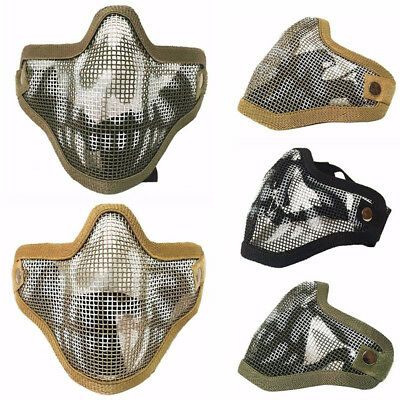 CO_ Unisex Tactical Half Face Mask Steel Mesh Mask Airsoft CS Protective Cover E