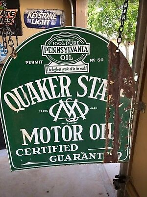 Vintage Quaker State Double Sided Flange Sign
