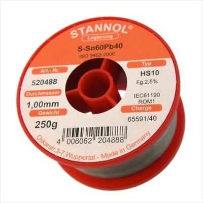 solder wire 1.0mm 250gr with flux 60/40 Sn60Pb40 flux 2.5% NoClean Stannol
