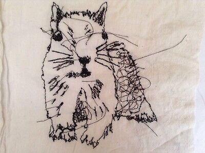 Squirrel Free Hand Machine Embroidery On Fabric
