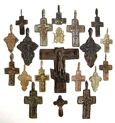 Ancient lot of 20 bronze Believer pendats / crosses  Middle Ages.
