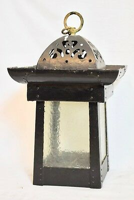 Antique C.1900 Victorian Copper Hanging Lantern Pendant Light Lamp