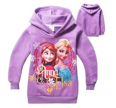 Girl Elsa & Anna Jumper Hooded Hoodie Jumper Jacket Cotton Fleece Lining