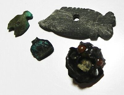 ZURQIEH -as6697- ANCIENT EGYPT, LOT OF 4 AMULETS. 600 - 300 B.C