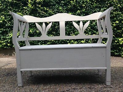 Wooden settle/bench (painted) with storage in the seat
