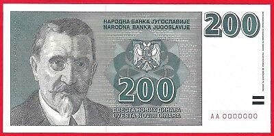 Yugoslavia 200 dinars 1999. AA0000000, P-152A ,not issued,   UNC