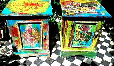 Pair bedside cabinets.hand carved & painted  .from sustainable  wood .Fair trade