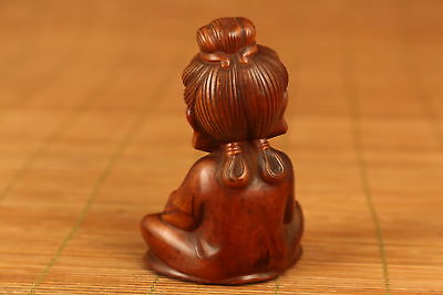 chinese Old boxwood hand carved kwan-yin statue netsuke