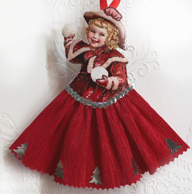 Vintage Style Christmas Ornament- Snowball~*Victorian Paper Doll Image