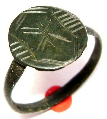 Ancient  Medieval  bronze ring with ornament.
