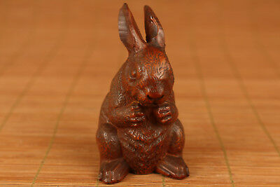 rare chinese boxwood hand carved rabbit statue netsuke