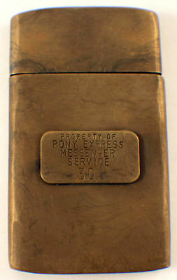 Solid Brass Pony Express Messenger Service Map Case With Antique Patina