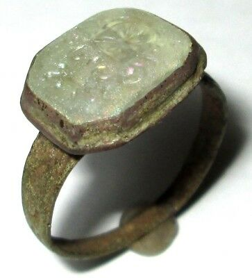 Ancient Medieval bronze ring seal with white stone. (GEM)