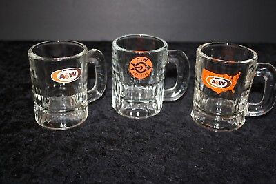 """Vintage 3 Glass A&W Root Beer Old Baby Beer Size Assorted Glass Mug 3.25"""""""