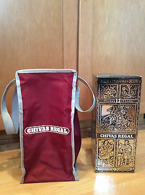 Vintage Chivas Regal Scotch Whiskey Bottle Shoulder Bag & Chivas Decorative Box