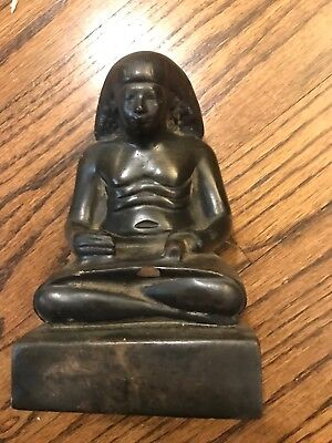 Ancient Egyptian Carving Sculpture Stone Scribe Museum Replica