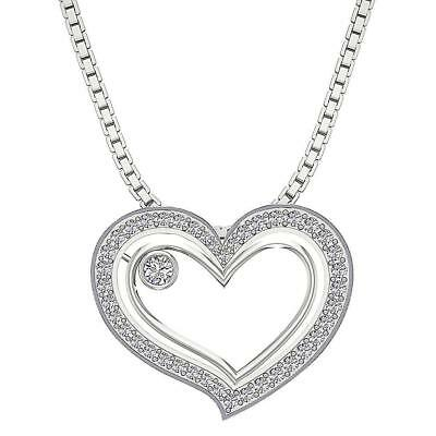 Love of Heart Pendant Necklace I1 H 1/2Ct Round Diamond Jewelry 14Kt Solid Gold