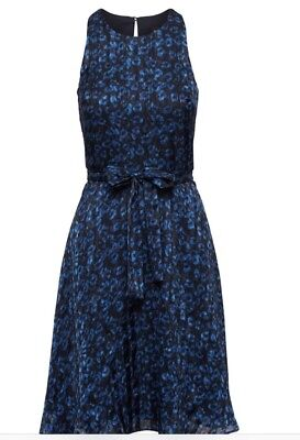 Banana Republic Leopard Print Racer Neck Fit And Flare Dress Nwt $138 Sz 18