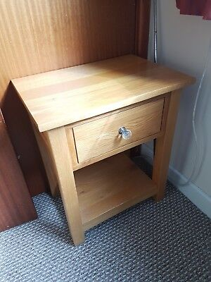 solid oak bedside table/ lamp table
