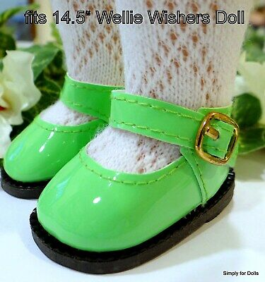 GREEN Patent Mary Jane Doll Shoes w//LIME Satin Bow For Chatty Cathy Debs