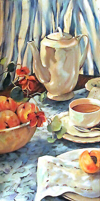 "Original Oil Still Life Food 12x24 Artist Moonglance ""Peaches and Tea' Realism"