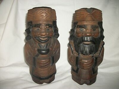 Two Old Japanese Signed Carved Wooden Figures-Male & Female ( See Photo's)