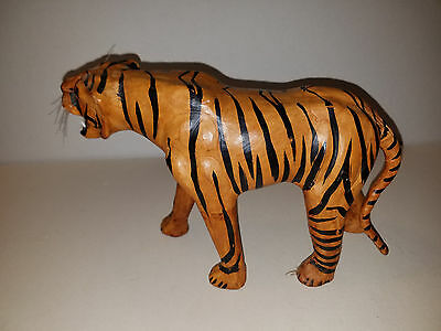 Vintage Hand Crafted & Painted Leather Fierce Bengal Tiger Figure