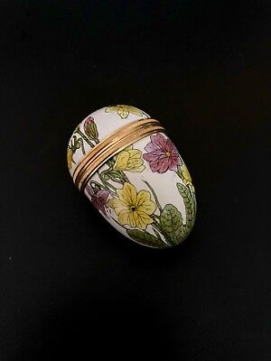 Halcyon Days Enamel Egg with Purple and Yellow Flowers