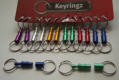 Colourful Double Ended Key Ring & Belt Clip x1