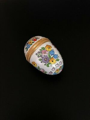 Halcyon Days Enamel Egg Box with Colorful Flowers and Pink Hearts