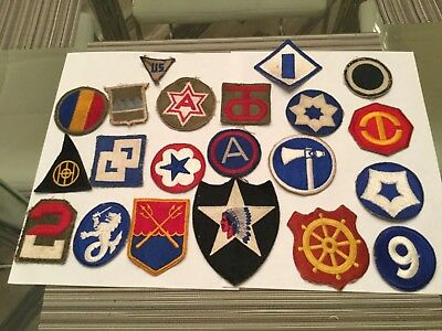 Estate RARE LOT OF 21 ALL ORIGINAL DIFFERENT WWII SHOULDER PATCHES AS FOUND