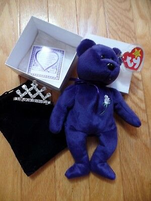 1997 TY Beanie Baby PRINCESS DIANA China, PE pellets,space,Canadian tush,crown