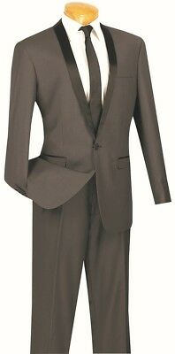 Mens Slim Fit Tuxedo Suit Single Breasted 1 Button Heather Gray Prom Wedding TSS