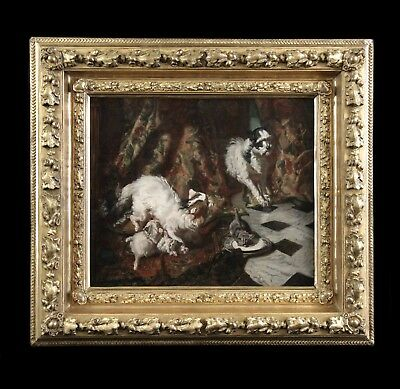 Original antique oil painting on canvas portrait cat kittens dog French frame
