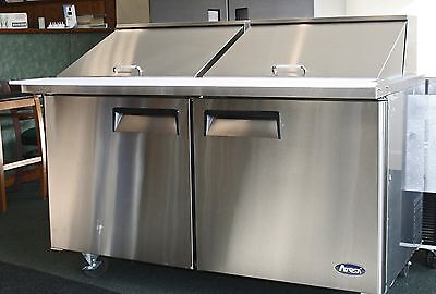 "New 60"" 2 Door Mega Sandwich Prep 24 Ss Pans Incl W Casters Free Ship & Liftgate"