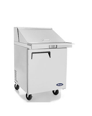 "New 27"" 1 Door Mega Sandwich Prep 12 Stainless Pans Included W Casters Free Ship"