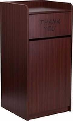 New Mahogany Commercial Waste Trash Wood Receptacle Can Bin Holder Tray Top