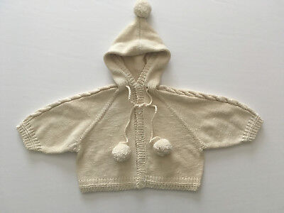 Handknit Cotton Cardigan Sweater with Hood Toddler
