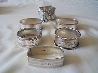 Six Sterling Napkin Rings