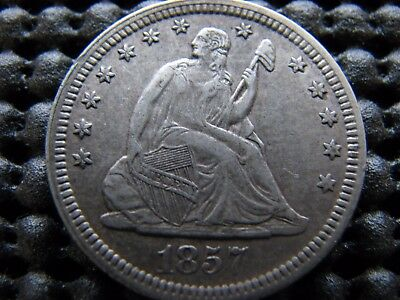 Flawless 1857 Seated Quarter in XF++ Condition.