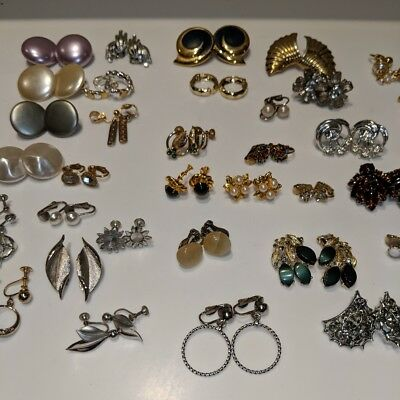 Huge Lot Of 36 Pairs Of Vintage Clip On screw on Earrings LQQK estate find