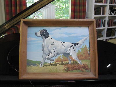 Vintage 1956 Paint By Number Spotted Hunting Dog Oak Framed Picture Painting