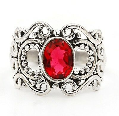 Rubellite Tourmaline 925 Solid Sterling Silver Filigree Ring Jewelry Sz 8.5