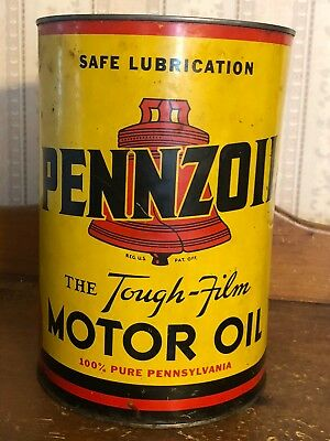 Antique-Vintage-Pennzoil 5 quart Oil Can-Mainliner Plane